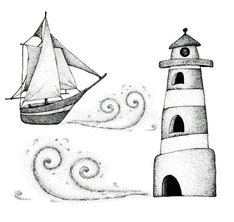 Seascape com um navio, as ondas e o céu noturno Aquarela e gráficos Para o projeto do fundo, molde ilustração do vetor