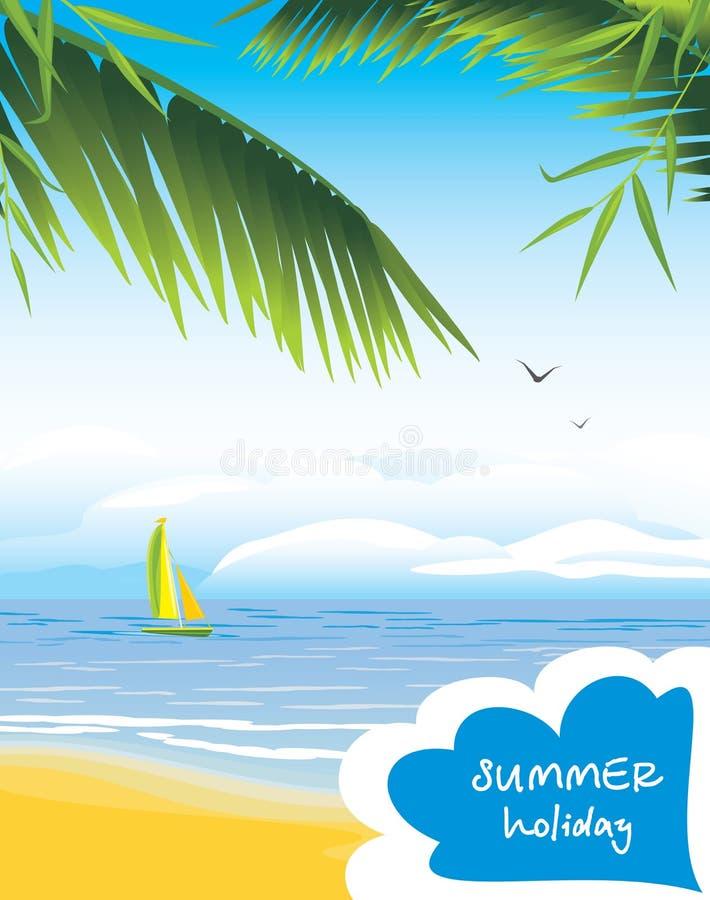 Seascape com veleiro. Férias de verão ilustração royalty free