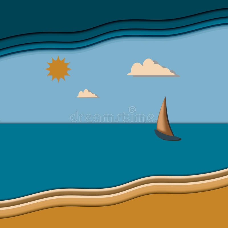 Seascape com veleiro a ilustração do vetor do dia ilustração royalty free