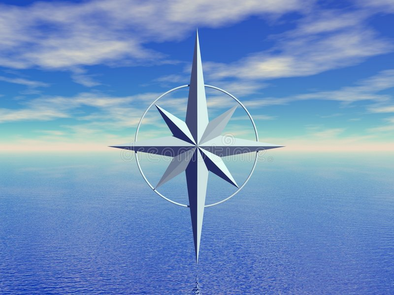 Seascape and compass royalty free illustration