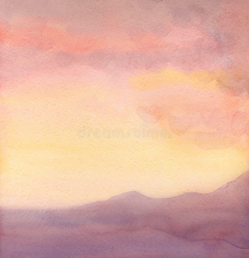 Seascape da aquarela Por do sol ilustração do vetor