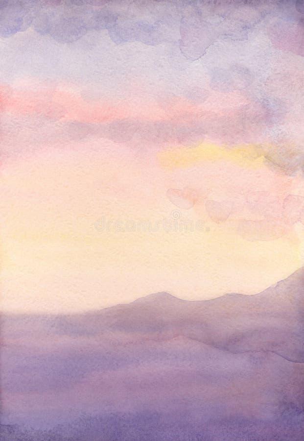 Seascape da aquarela Por do sol ilustração royalty free
