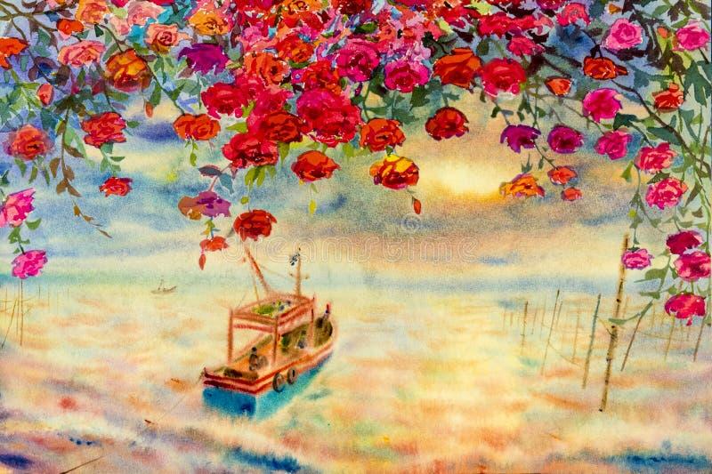 Seascape da aquarela que pinta colorido de rosas vermelhas com barco de pesca ilustração stock