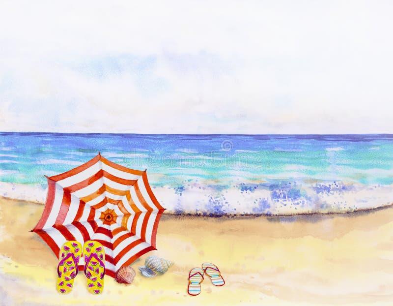 Seascape da aquarela que pinta colorido da opinião do mar ilustração stock