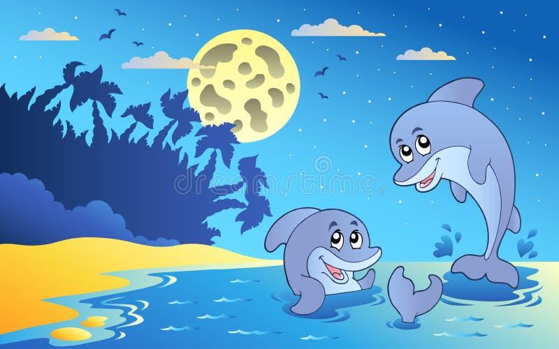 Seascape da noite com dois golfinhos ilustração royalty free