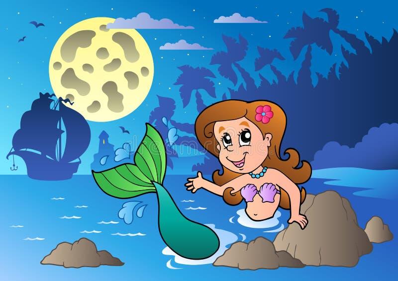 Seascape da noite com sereia da natação ilustração stock
