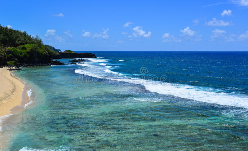 Seascape de Le Morne no verão em Maurícias fotografia de stock