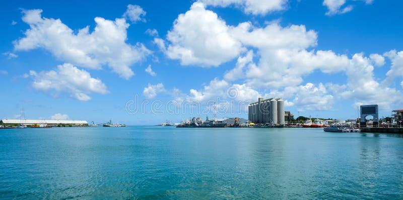 Seascape de Louis Harbour portuário, Maurícias foto de stock royalty free