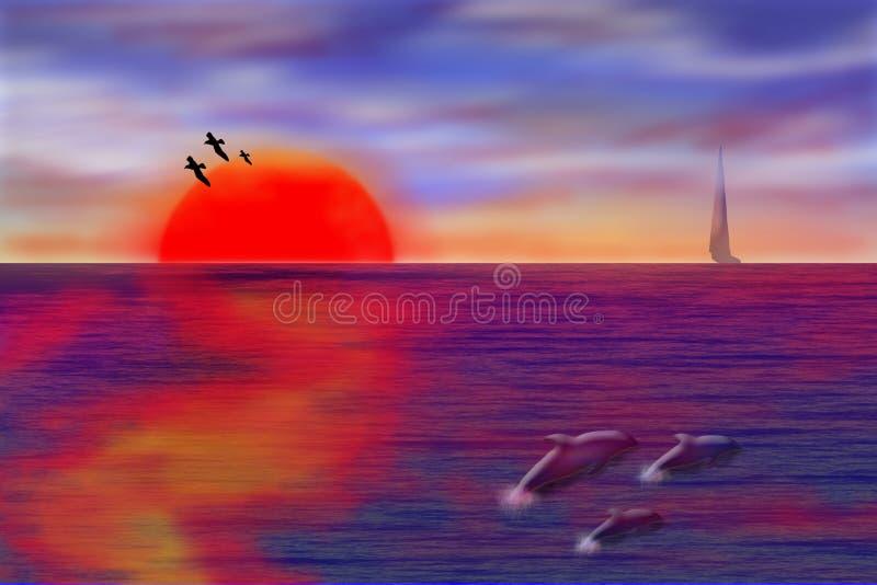 Seascape do por do sol imagem de stock royalty free