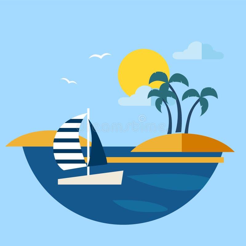 Seascape do verão com vetor do veleiro ilustração stock
