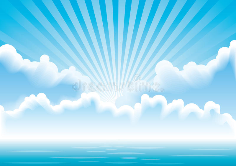 Seascape do vetor com nuvens e raias do sol ilustração royalty free