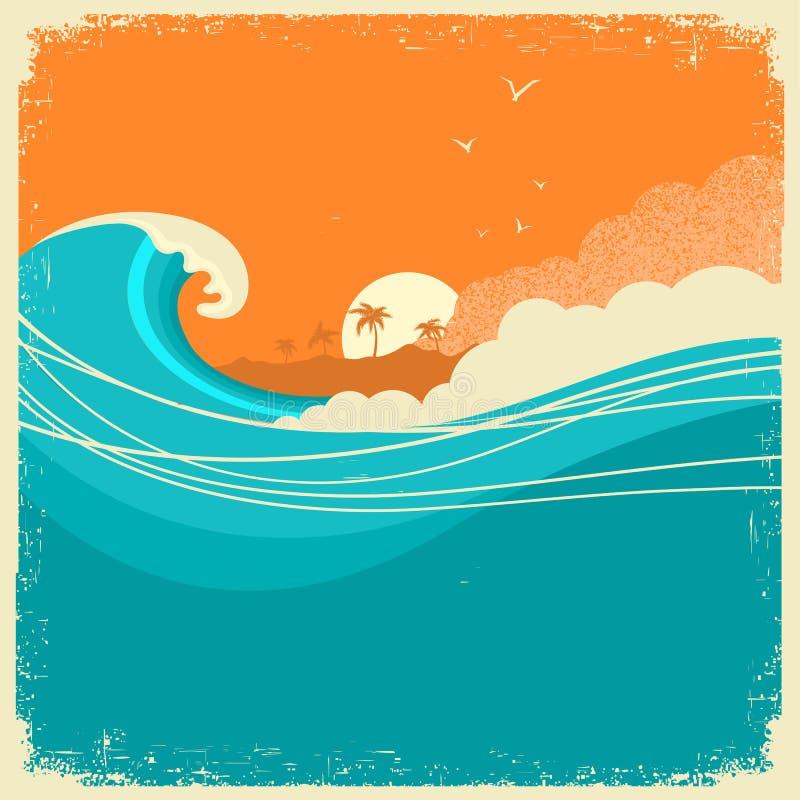 Seascape do vintage com a ilha no cartaz de papel velho para o texto Oceano ilustração royalty free