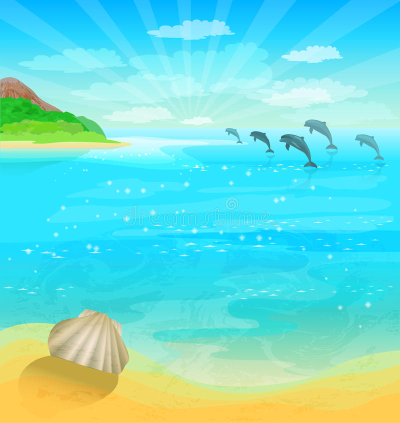 Seascape with dolphins royalty free illustration