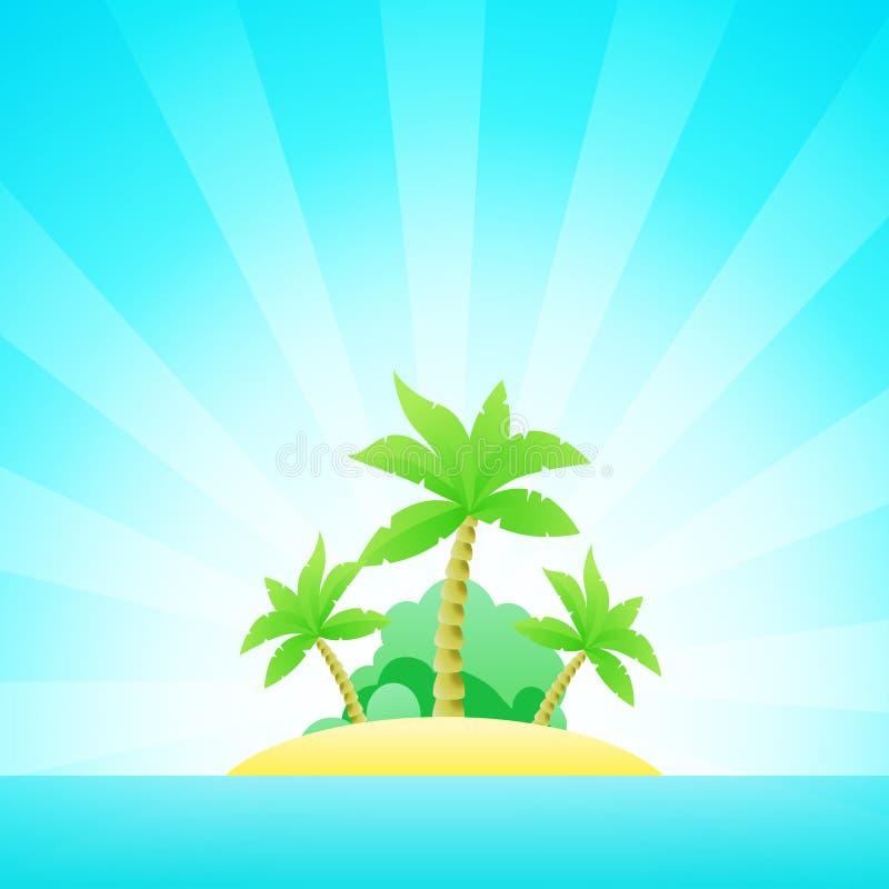 Seascape dos desenhos animados com a ilha exótica no oceano sob o céu azul limpo ilustração stock