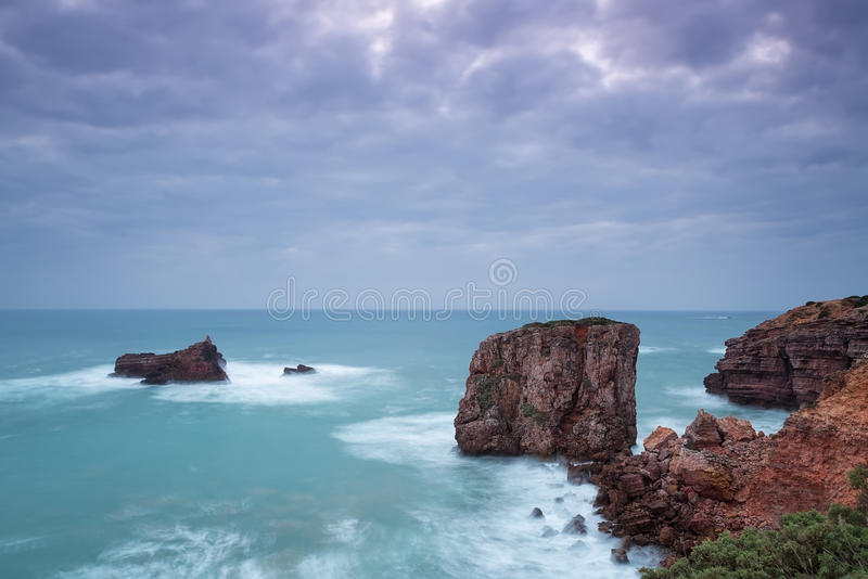 Seascape in dramatic colors and cool colors. Portugal . stock photos