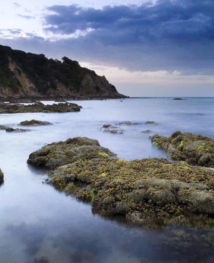 Seascape at Dusk. The beautiful Balcombe Point area in Mount Martha towards dusk royalty free stock photography