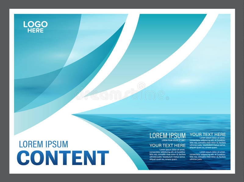Seascape e fundo do molde do projeto da disposição da apresentação do céu azul para o negócio do curso do turismo Ilustração ilustração stock