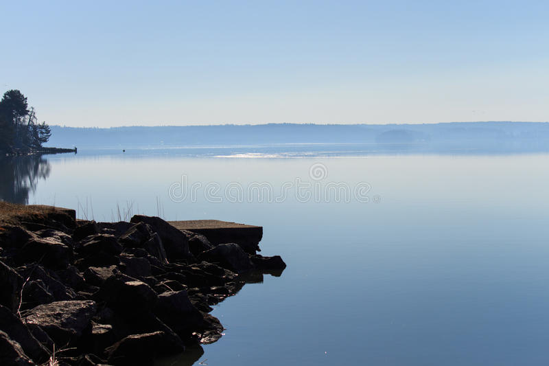 Seascape. Early morning, blue sky and seascape stock photos