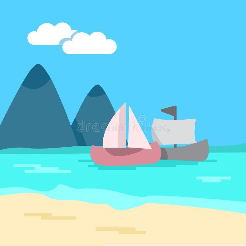 seascape Färgad bakgrund - hav, sandig kust, berg, skepp vektor stock illustrationer