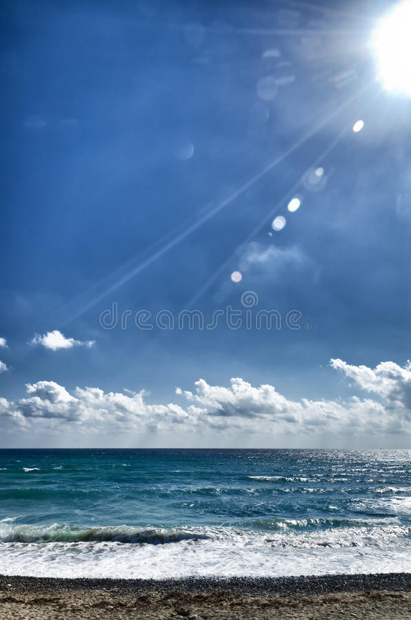 Seascape With Flares Royalty Free Stock Photos