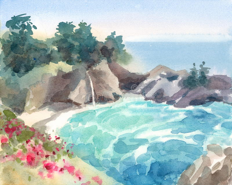Seascape with Flowers and Waterfall Watercolor Nature Illustration Hand Painted stock illustration