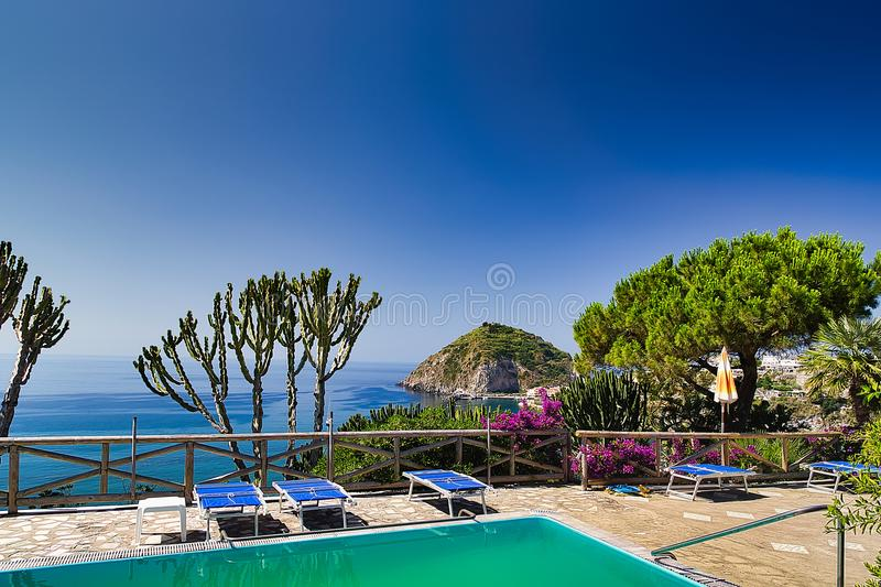 Seascape from garden with pool stock photo