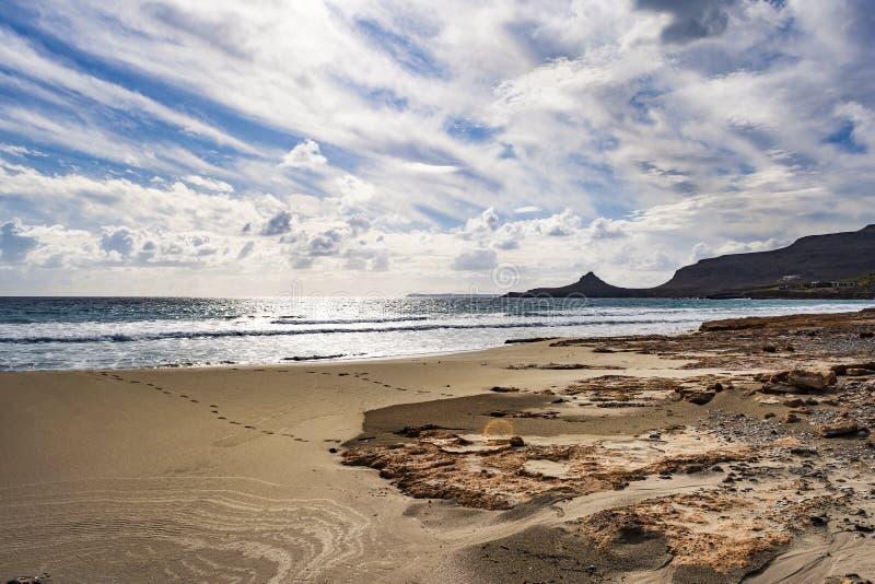 Seascape grego bonito Creta do leste Praia de Xerokampos foto de stock