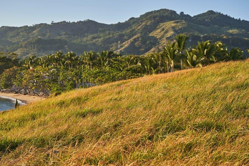 seascape Havkust med gräs, berg och stranden i bakgrunden fotografering för bildbyråer