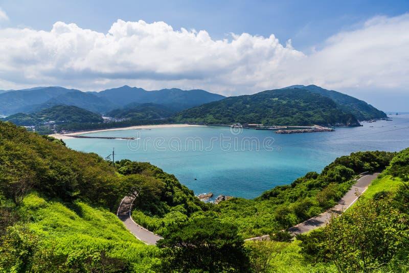 Seascape i linia brzegowa w Jusambutsu parku, Amakusa, Kumamoto obraz royalty free