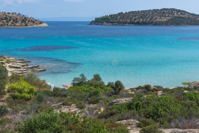 Seascape of Lagonisi Beach at Sithonia peninsula, Chalkidiki, Greece royalty free stock image