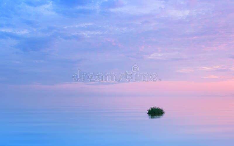 Seascape lil?s de surpresa com rosa e as nuvens roxas fotografia de stock royalty free
