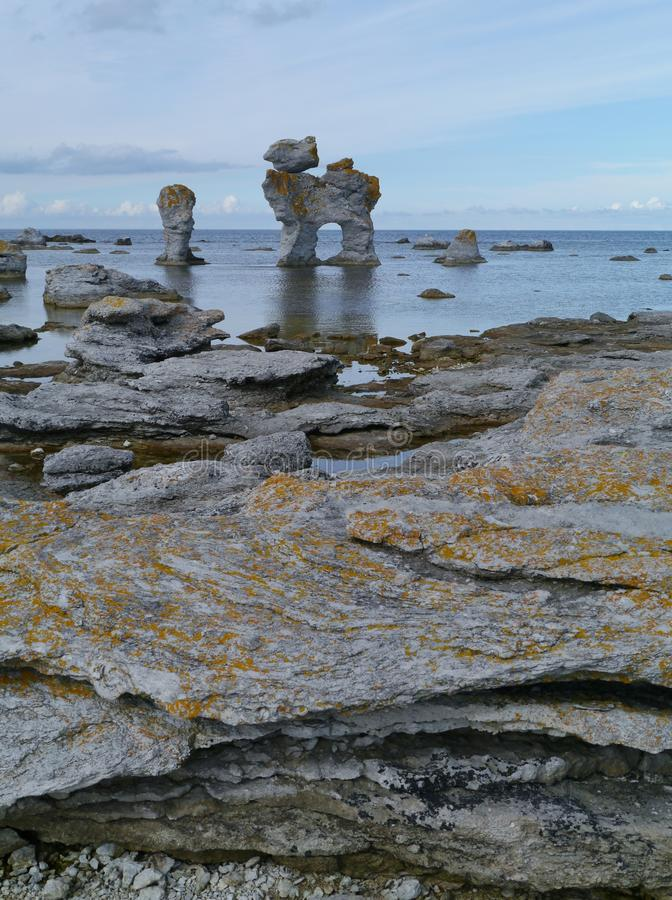 A seascape with limestone formations royalty free stock photos