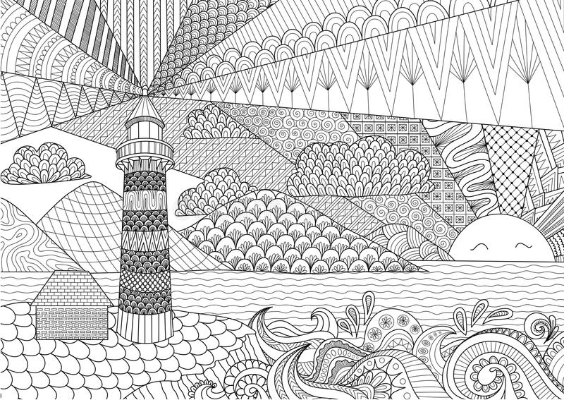 Download Seascape Line Art Design For Coloring Book Adult Anti Stress