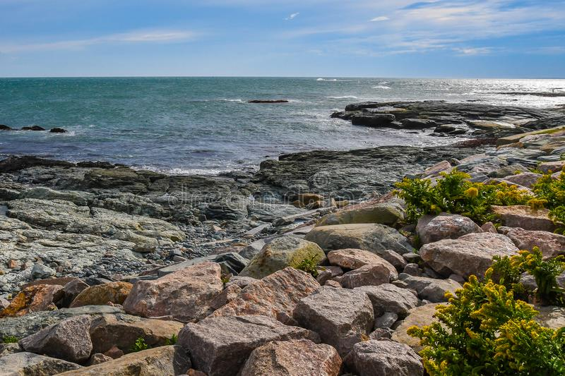 The Rocky Coast of Newport, Rhode Island royalty free stock images