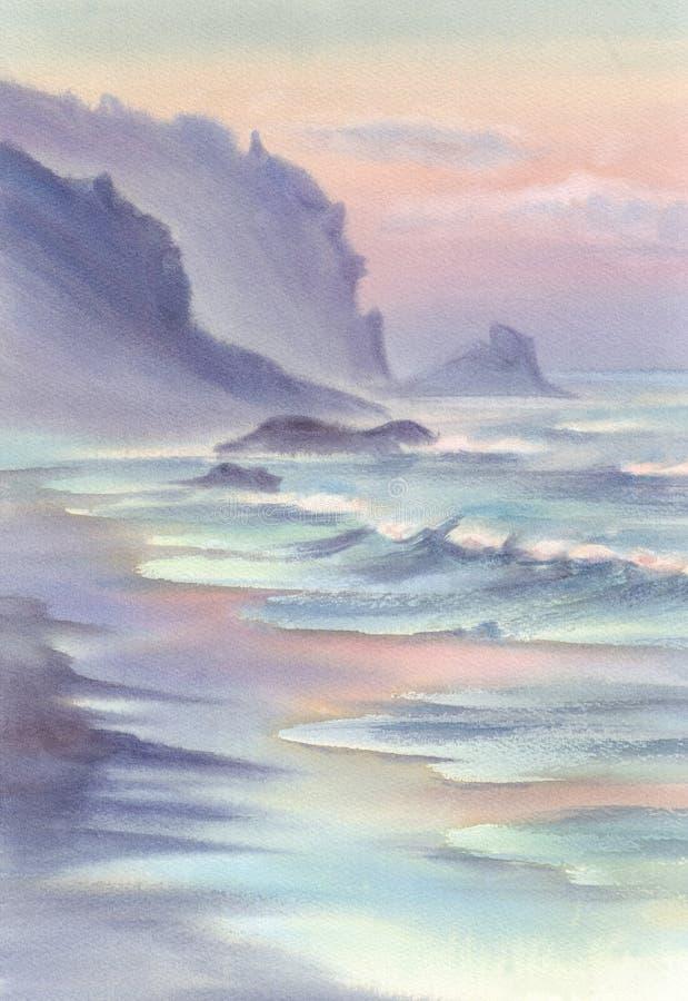 Seascape med bergvattenfärgen vektor illustrationer