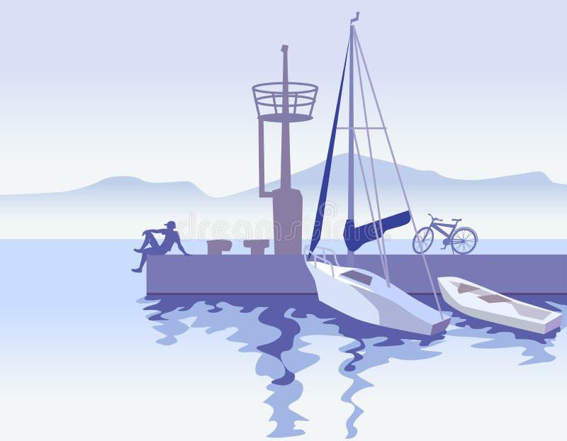 Seascape med kängor, pir och mannen i stil för vattenfärgstyleinvattenfärg i vattenfärg utformar stock illustrationer