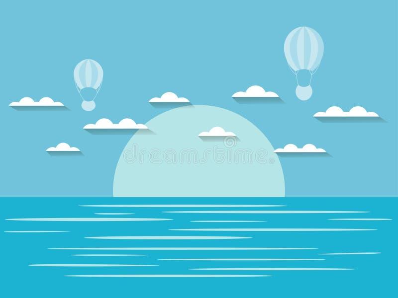 Seascape med moln och ballongen för varm luft Blått- och vitfärg vektor vektor illustrationer