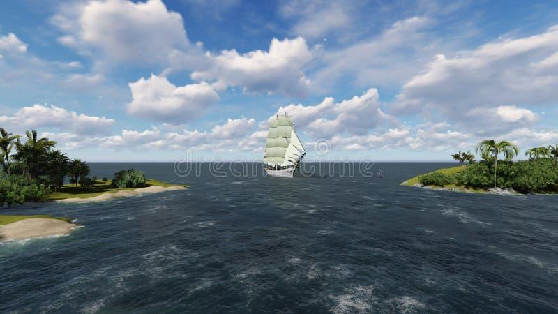 Seascape med segelbåten fotografering för bildbyråer