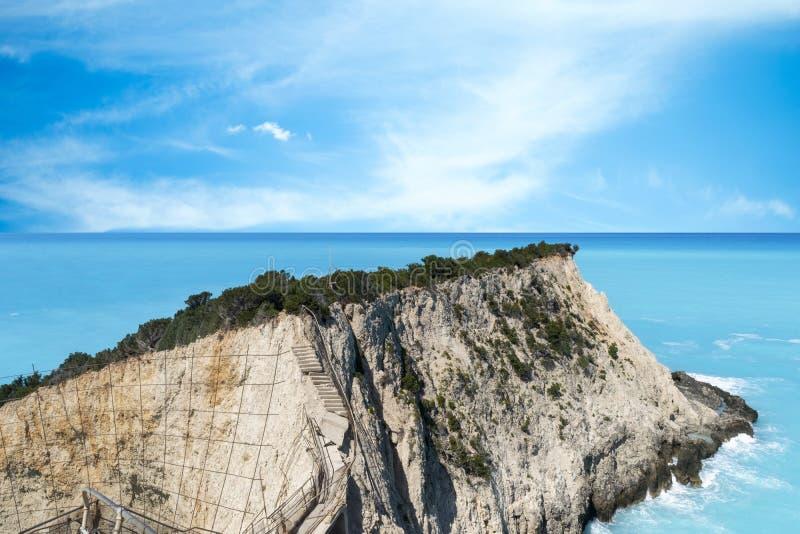 Seascape met Rocks bij Porto Katsiki Beach, Lefkada, Ionische eilanden, Griekenland royalty-vrije stock afbeelding