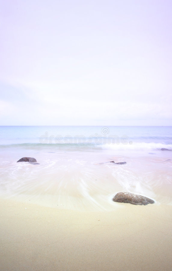 Seascape at misty dawn, pastels royalty free stock photo