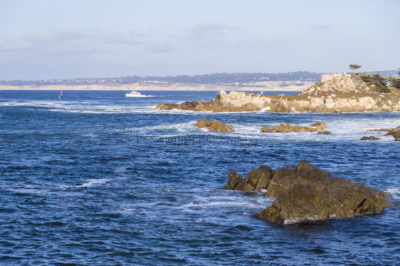 Seascape of Monterey Bay at Sunset in Pacific Grove, California, USA royalty free stock photos