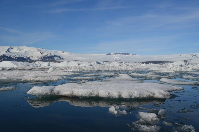 Seascape of multiple glaciers in a Iceland lagoon royalty free stock photo