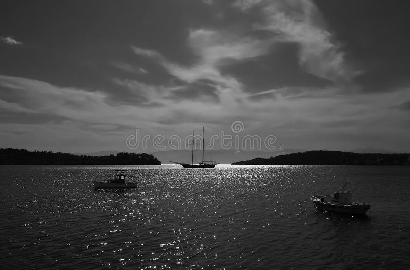 Seascape at night. Seascape under a night sky in B&W. Porto Cheli, Greece royalty free stock photos