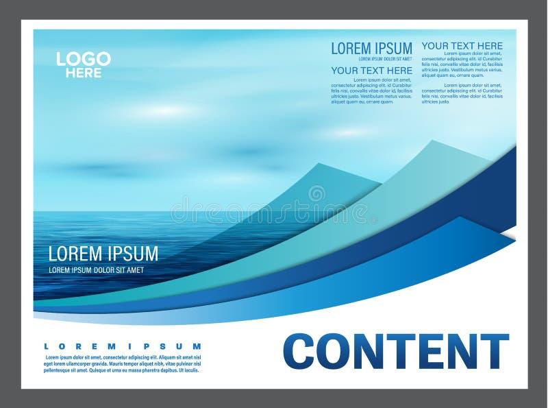 Seascape och för presentationsorientering för blå himmel bakgrund för mall för design för turism reser affär illustration royaltyfri illustrationer