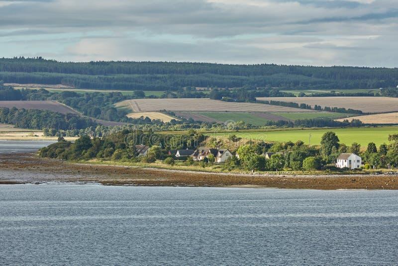 Seascape och landskap av Invergordon i Skottland, UK arkivfoto