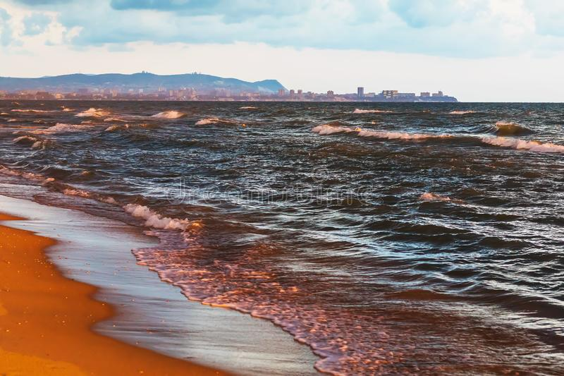 Seascape overlooking the city of Anapa located on the shores of the Black Sea stock photography