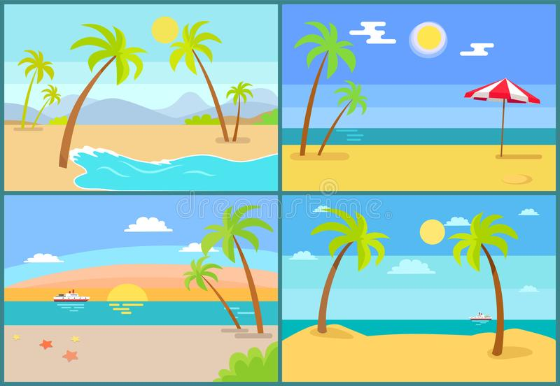 Seascape and Palms Collection Vector Illustration vector illustration
