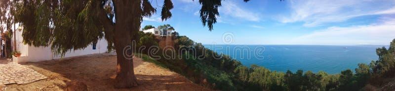 Seascape panorama Sidi Bou Said royalty free stock photo