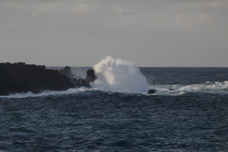 seascape panoramiczny Ogromne fale rozbija w ogromnych kamienie przeciw horyzontowi i niebu Zachodni seashore Tenerife zdjęcie stock