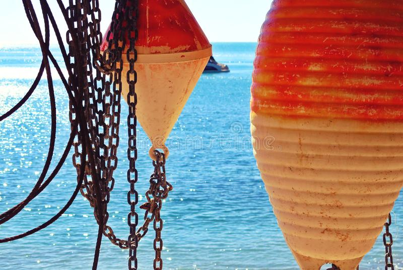 Seascape, paradise blue beach and natural summer landscape, fishermans equipment view from Tellaro in Liguria, Italy royalty free stock images